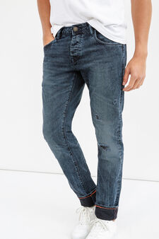 Slim-fit worn-effect jeans with rips, Denim, hi-res