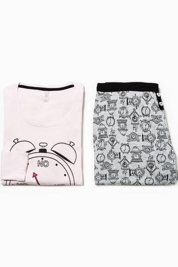 Pijama con estampado de relojes, Gris/Rosa, hi-res