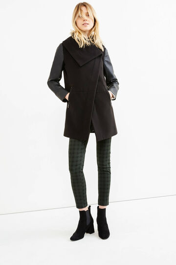 Stretch coat with asymmetrical opening, Black, hi-res