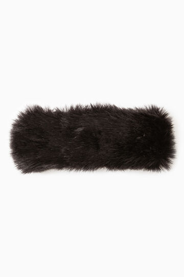 Solid colour faux fur neck warmer, Black, hi-res