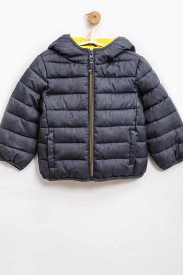 Down jacket with hood and zip, Grey, hi-res