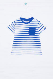 T-shirt puro cotone a righe, Bianco/Blu, hi-res