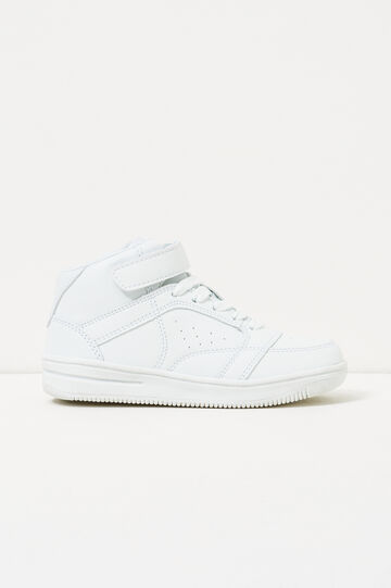 Solid colour high-top sneakers with Velcro fastening, White, hi-res