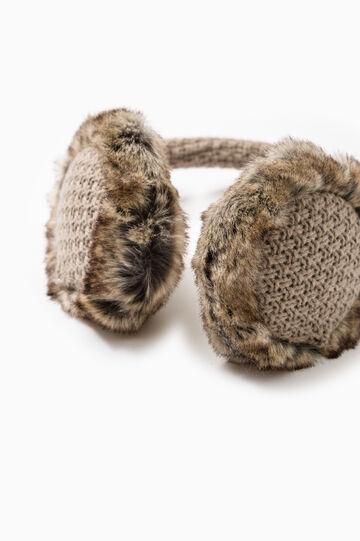 Paraorecchie pelliccetta e tricot, Bianco gesso, hi-res