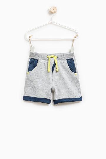 Bermuda shorts with contrasting drawstring, Grey Marl, hi-res
