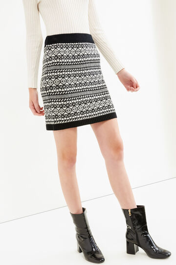 Pencil skirt with geometric pattern, White/Black, hi-res