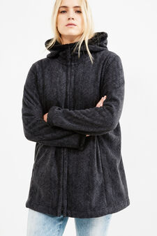 Curvy fleece hooded jacket, Grey, hi-res