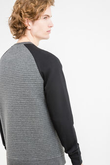 Cotton blend sweatshirt with stitching, Dark Grey, hi-res