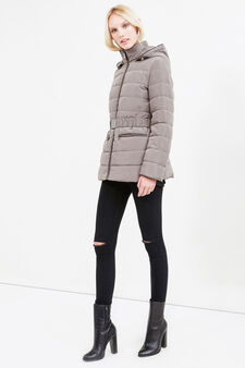 Down jacket with removable hood, Grey, hi-res