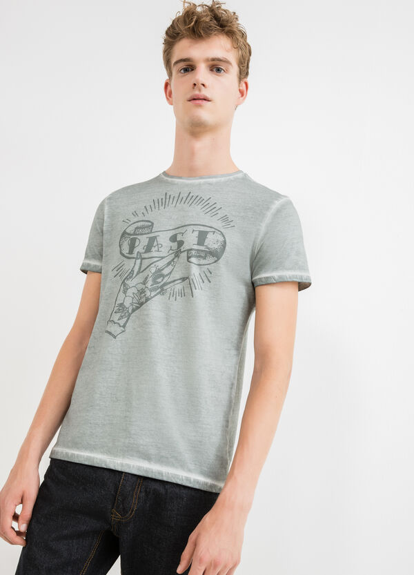 Crew neck T-shirt with faded-effect stitching | OVS