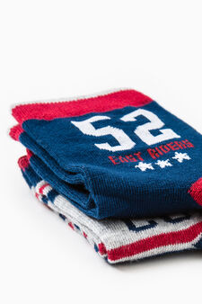 Two-pair pack socks with embroidery and stripes, Navy Blue, hi-res