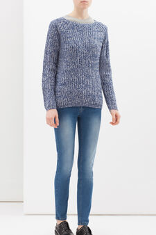 Knitted pullover with raglan sleeves, Blue, hi-res