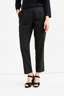 Curvy stretch chalk-stripe trousers, Black, hi-res