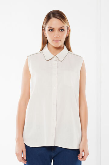 Sleeveless Curvy shirt, Light Beige, hi-res