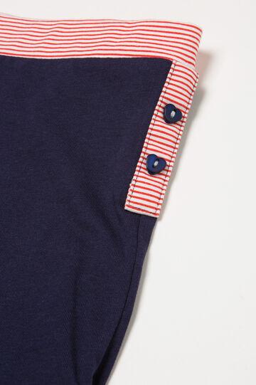 Pantaloni pigiama cotone a righe, Blu navy, hi-res