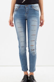 Skinny-fit stretch jeans with cuts, Light Wash, hi-res