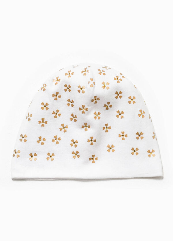 Floral beanie cap with diamantés | OVS