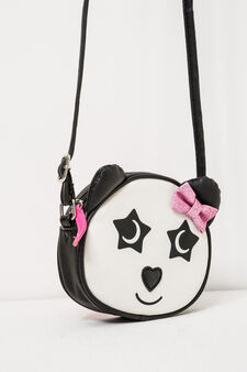 Shoulder bag with ears and embroidery, Black/White, hi-res