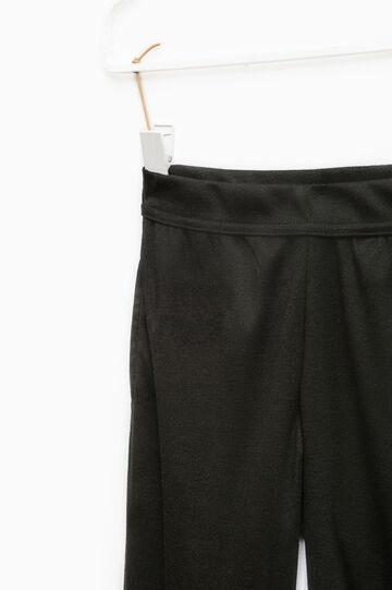 Solid colour viscose blend leggings, Black, hi-res