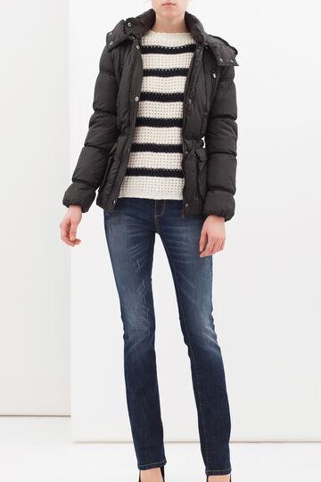 Cropped jacket with belt, Black, hi-res