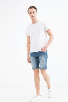 Skinny-fit stretch denim Bermuda shorts., Denim, hi-res
