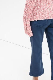Stretch crop trousers with flared leg, Blue, hi-res