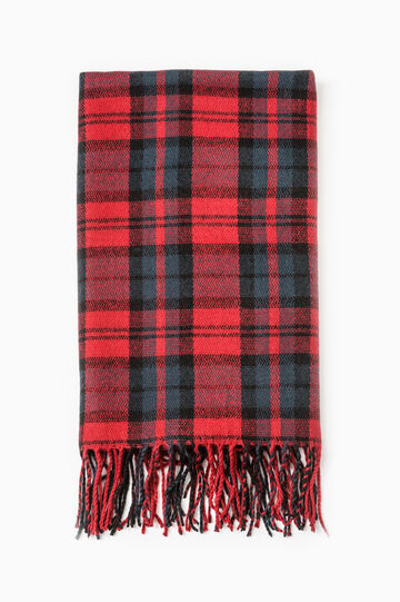 Check scarf with fringe, Blue/Red, hi-res