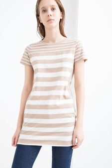 100% cotton T-shirt with stripes, White/Brown, hi-res