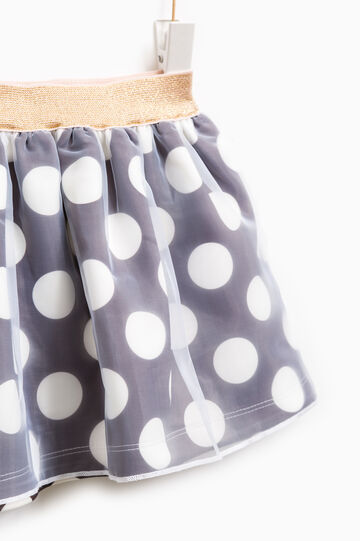 Polka dot pattern stretch skirt, Dark Grey, hi-res
