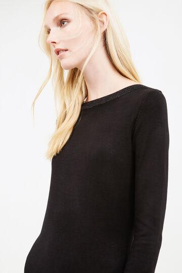 Short dress in stretch viscose blend, Black, hi-res