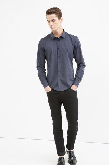 Camisa elegante slim fit de rayas, Azul/Gris, hi-res