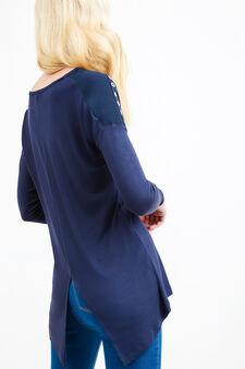 T-shirt pura viscosa spacco e occhielli, Blu navy, hi-res