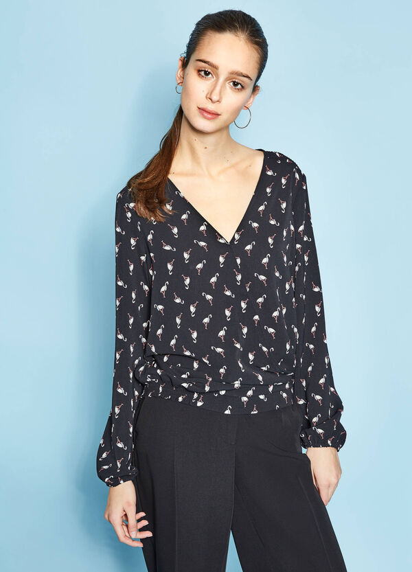 Flamingo print stretch blouse | OVS