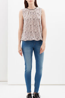 Sleeveless floral blouse, Grey, hi-res
