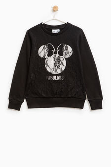 Lace sweatshirt with Minnie Mouse print, Black, hi-res