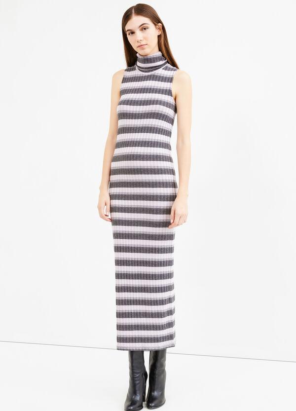 Vestido largo de rayas de viscosa elástica | OVS