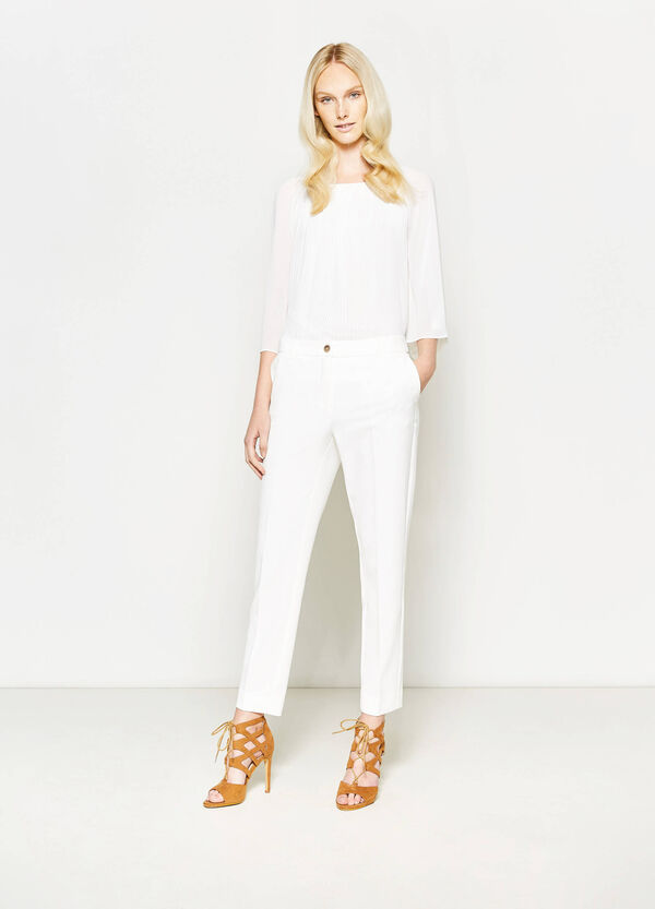 Elegant crop trousers with crease | OVS