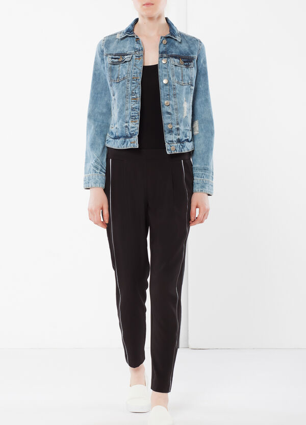 High-waisted trousers with side band | OVS