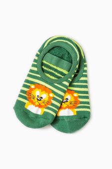 Embroidered striped slipper socks, Green, hi-res