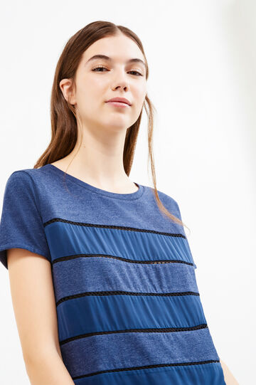 Striped T-shirt with openwork inserts, Blue Marl, hi-res