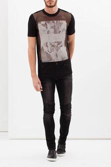 Printed openwork T-shirt, Black, hi-res