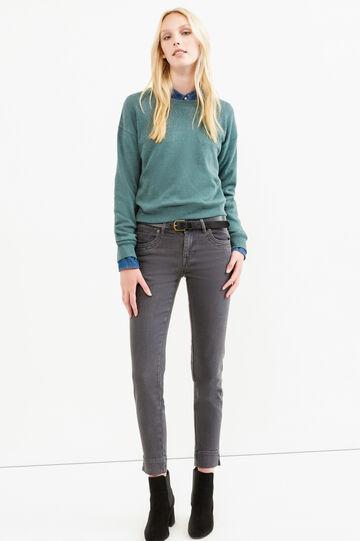 Jeans slim fit con spacchetti alle caviglie, Grigio, hi-res