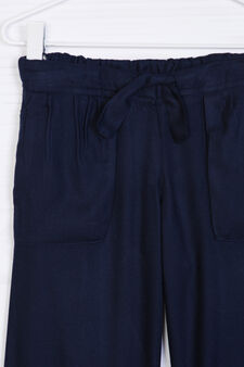 Drawstring trousers in 100% viscose, Navy Blue, hi-res