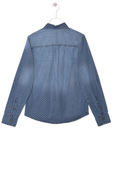 Patterned shirt in 100% cotton, Dark Blue, hi-res