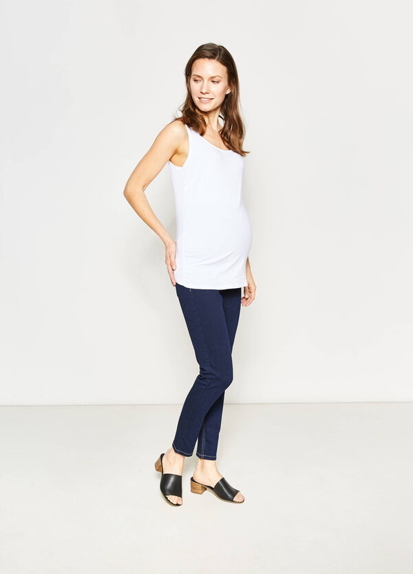 Solid colour stretch MUM jeans | OVS
