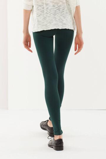 Leggings cotone stretch, Verde scuro, hi-res