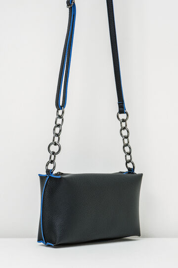 Small textured-effect shoulder bag, Black/Blue, hi-res