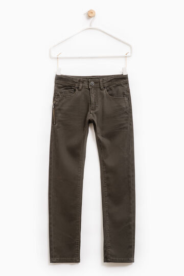 Solid colour stretch jeans, Black, hi-res