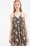 Short dress with floral pattern, Black, hi-res