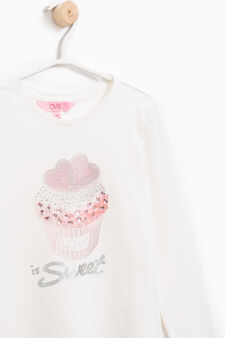 Stretch T-shirt with print and diamantés, Milky White, hi-res